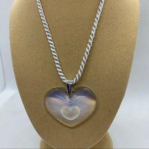 Lalique Opalescent Milk White Tender Heart Necklac